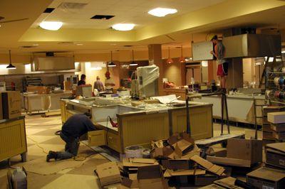 Interior dining hall construction, 2002