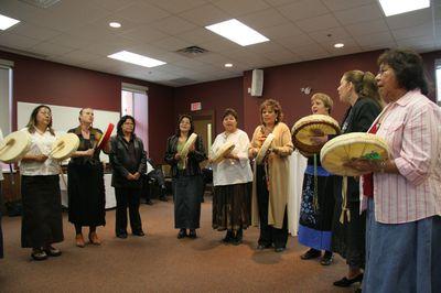 Mino Oday N'gamowak Kwewak performance at Faculty of Social Work Kitchener opening ceremonies, 2006