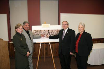 Karen Redman, Shawky Fahel, Robert Rosehart and Lesley Cooper at Faculty of Social Work Kitchener anniversary, 2006