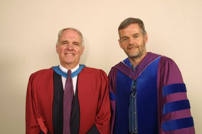 Rowland Smith and Leo Groarke at Laurier Brantford spring convocation, 2004