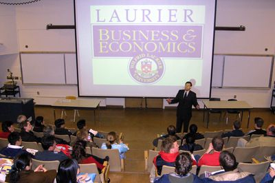 Scott Carson giving lecture at Wilfrid Laurier University spring open house, 2003