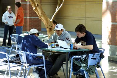 Students studying in science atrium, 2003