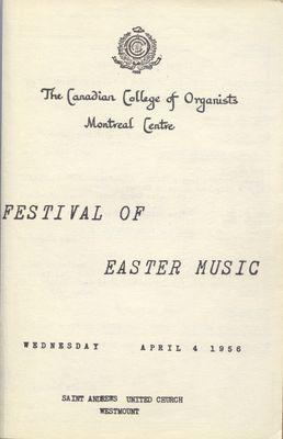 Festival of Easter Music, 1956