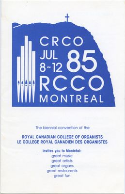 Royal Canadian College of Organists 1985 National Convention invitation