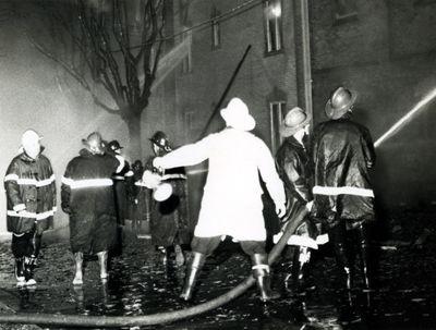 Fire Fighters battling blaze at St. John's Lutheran Church, Waterloo, Ontario