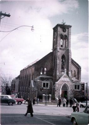 Exterior damage, St. John's Lutheran Church, Waterloo, Ontario