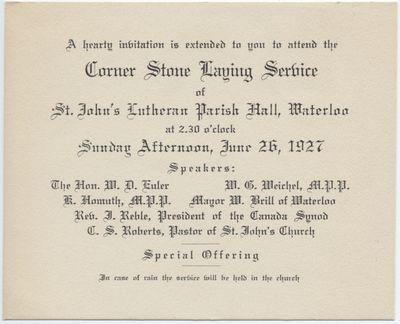 Invitation to the Corner Stone Laying Service of St. John's Lutheran Parish Hall, Waterloo, June 26, 1927