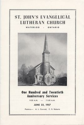 St. John's Evangelical Lutheran Church : One hundred and twentieth anniversary services, June 23, 1957