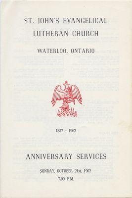Anniversary Services : St. John's Lutheran Church, October 21, 1962