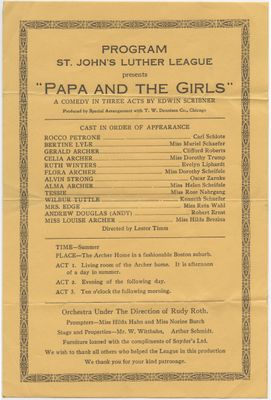"St. John's Luther League presents ""Papa and the girls : a comedy in three acts"", 1937"