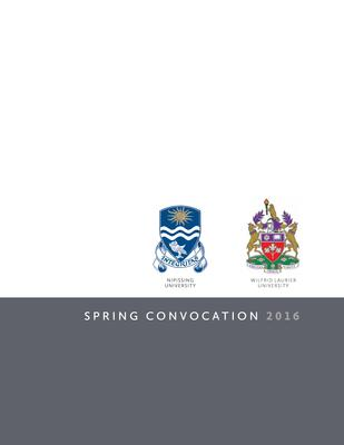 Wilfrid Laurier University-Nipissing spring convocation program, 2016