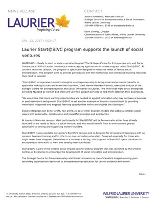 003-2017 : Laurier Start@SIVC program supports the launch of social ventures