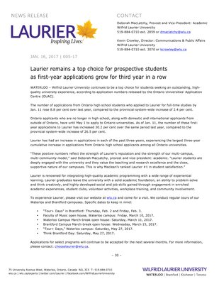 005-2017 : Laurier remains a top choice for prospective students as first-year applications grow for third year in a row