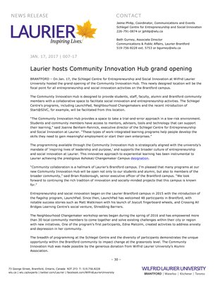 007-2017 : Laurier hosts Community Innovation Hub grand opening