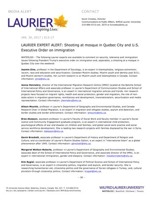 013-2017 : LAURIER EXPERT ALERT: Shooting at mosque in Quebec City and U.S. Executive Order on immigration
