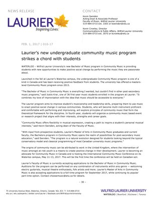 016-2017 : Laurier's new undergraduate community music program strikes a chord with students