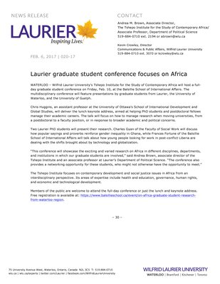 020-2017 : Laurier graduate student conference focuses on Africa