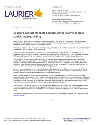 020-2017 : Laurier's Nelson Mandela Lecture Series examines post-conflict peacebuilding