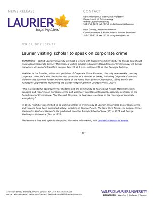 025-2017 : Laurier visiting scholar to speak on corporate crime