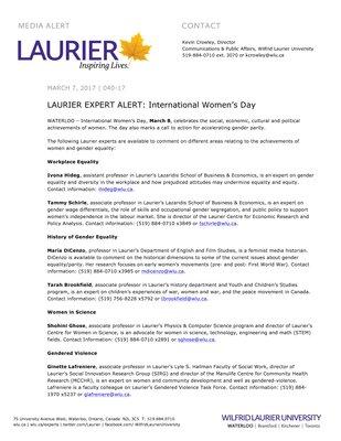 040-2017 : LAURIER EXPERT ALERT: International Women's Day