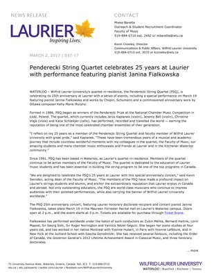 037-2017 : Penderecki String Quartet celebrates 25 years at Laurier with performance featuring pianist Janina Fialkowska