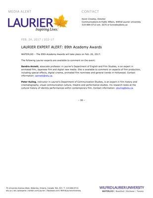 032-2017 : LAURIER EXPERT ALERT: 89th Academy Awards