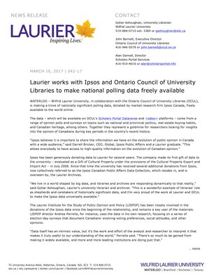 042-2017 : Laurier works with Ipsos and Ontario Council of University Libraries to make national polling data freely available