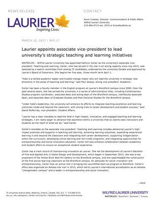 043-2017 : Laurier appoints associate vice-president to lead university's strategic teaching and learning initiatives