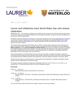 046-2017 : Laurier and UWaterloo mark World Water Day with shared celebration