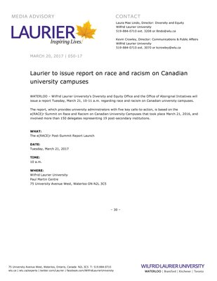 050-2017 : Laurier to issue report on race and racism on Canadian university campuses