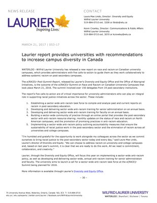 053-2017 : Laurier report provides universities with recommendations to increase campus diversity in Canada
