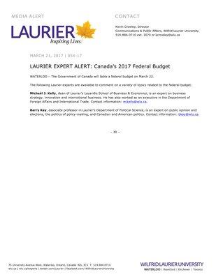 054-2017 : LAURIER EXPERT ALERT: Canada's 2017 Federal Budget