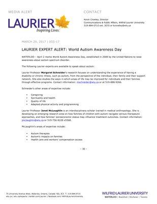 055-2017 : LAURIER EXPERT ALERT: World Autism Awareness Day