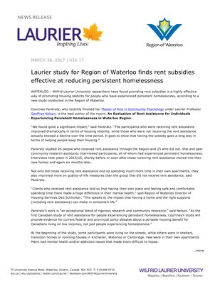 056-2017 : Laurier study for Region of Waterloo finds rent subsidies effective at reducing persistent homelessness
