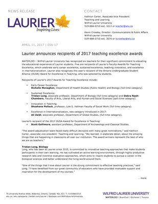 058-2017 : Laurier announces recipients of 2017 teaching excellence awards