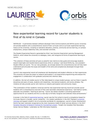 059-2017 : New experiential learning record for Laurier students is first of its kind in Canada