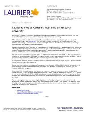 060-2017 : Laurier ranked as Canada's most efficient research university