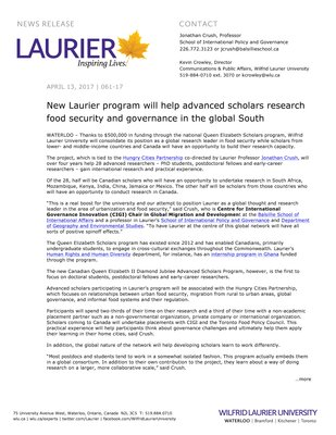 061-2017 : New Laurier program will help advanced scholars research food security and governance in the global South