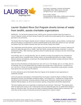 062-2017 : Laurier Student Move Out Program diverts tonnes of waste from landfill, assists charitable organizations
