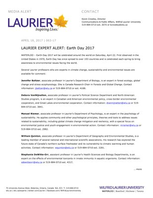063-2017 : LAURIER EXPERT ALERT: Earth Day 2017