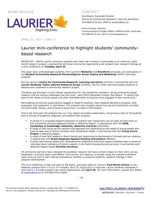 064-2017 : Laurier mini-conference to highlight students' community-based research