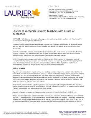 065-2017 : Laurier to recognize student teachers with award of excellence