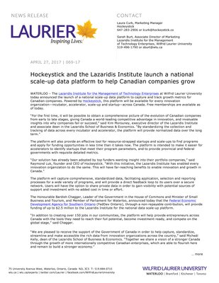 069-2017 : Hockeystick and the Lazaridis Institute launch a national scale-up data platform to help Canadian companies grow