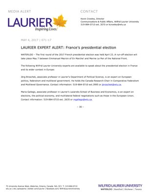 071-2017 : LAURIER EXPERT ALERT: France's presidential election