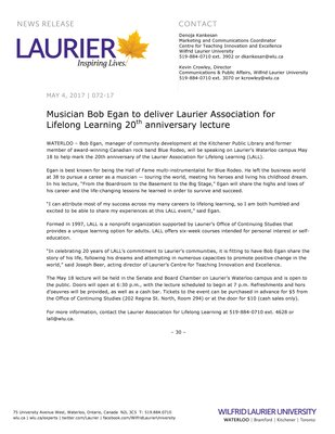 072-2017 : Musician Bob Egan to deliver Laurier Association for Lifelong Learning 20th anniversary lecture