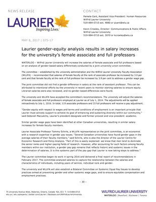 075-2017 : Laurier gender-equity analysis results in salary increases for the university's female associate and full professors