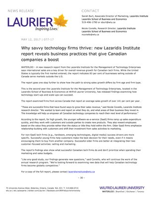 077-2017 : Why savvy technology firms thrive: new Lazaridis Institute report reveals business practices that give Canadian companies a boost