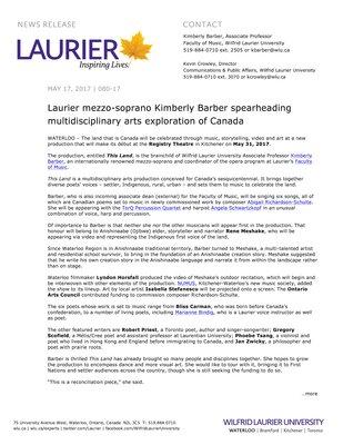080-2017 : Laurier mezzo-soprano Kimberly Barber spearheading multidisciplinary arts exploration of Canada