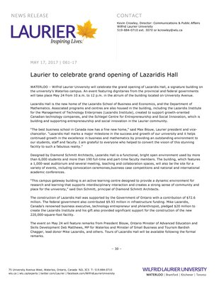 081-2017 : Laurier to celebrate grand opening of Lazaridis Hall