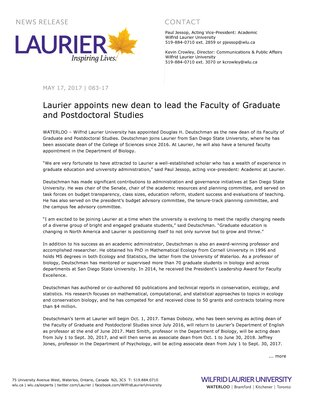 083-2017 : Laurier appoints new dean to lead the Faculty of Graduate and Postdoctoral Studies